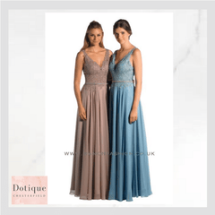 stunning lace and chiffon pale blue and taupe prom dress