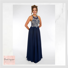 9262 PROM FROCKS DOTIQUE PROM DRESS STOCKIST NAVY  BEADED AND CHIFFON LONG DRESS