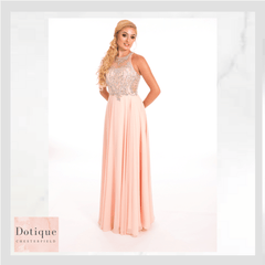 9262 PROM FROCKS DOTIQUE PROM DRESS STOCKIST BLUSH   BEADED AND CHIFFON LONG DRESS