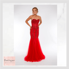 red strapless boned bodice with lace up back prom dress