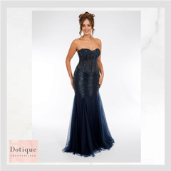 9322 prom frock strapless bodice lace up navy blue prom dress