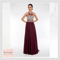 blackcurrant red chiffon dress with silver beaded top prom frocks pf9404