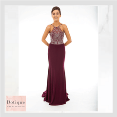 pf9424 dotique prom dresses chesterfield, derbyshire blackcurrant chiffon beaded long prom dress