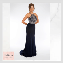 pf9424 dotique prom dresses chesterfield, derbyshire midnight blue navy chiffon beaded long prom dress