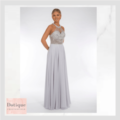 silver chiffon dress with silver beaded top prom frocks pf9404