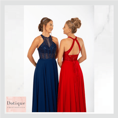PROM FROCK DRESS PF9609 RED AND BLUE CHIFFON DRESSES