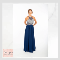 blue chiffon dress with silver beaded top prom frocks pf9404