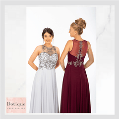 CHESTERFIELD HOME OF THE PROM DRESS SHOP DOTIQUE SILVER AND RED DRESS
