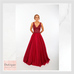 Cinderella prom dress in red by prom frocks
