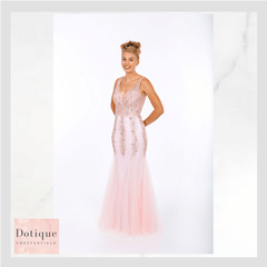 prom frock pink mermaid dress with fishtail and netting