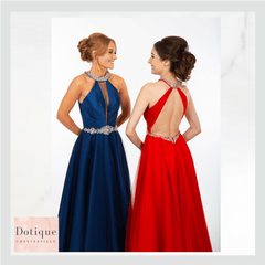 pf9435 red prom dress and blue prom dress