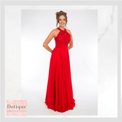 dotique prom dresses red lace and chiffon dress