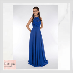 Dotique prom dresses chesterfield royal cobalt blue lace and chiffon dress
