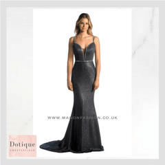 manons black prom dress with silver sparkles