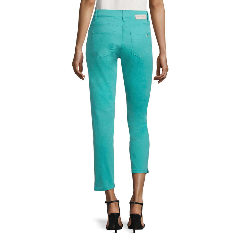 Bright Aqua Cropped Stretch Jeans