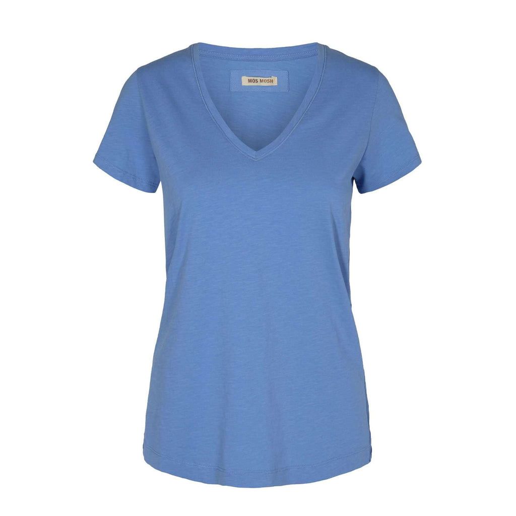 mos mosh blue cotton v neck t shirt