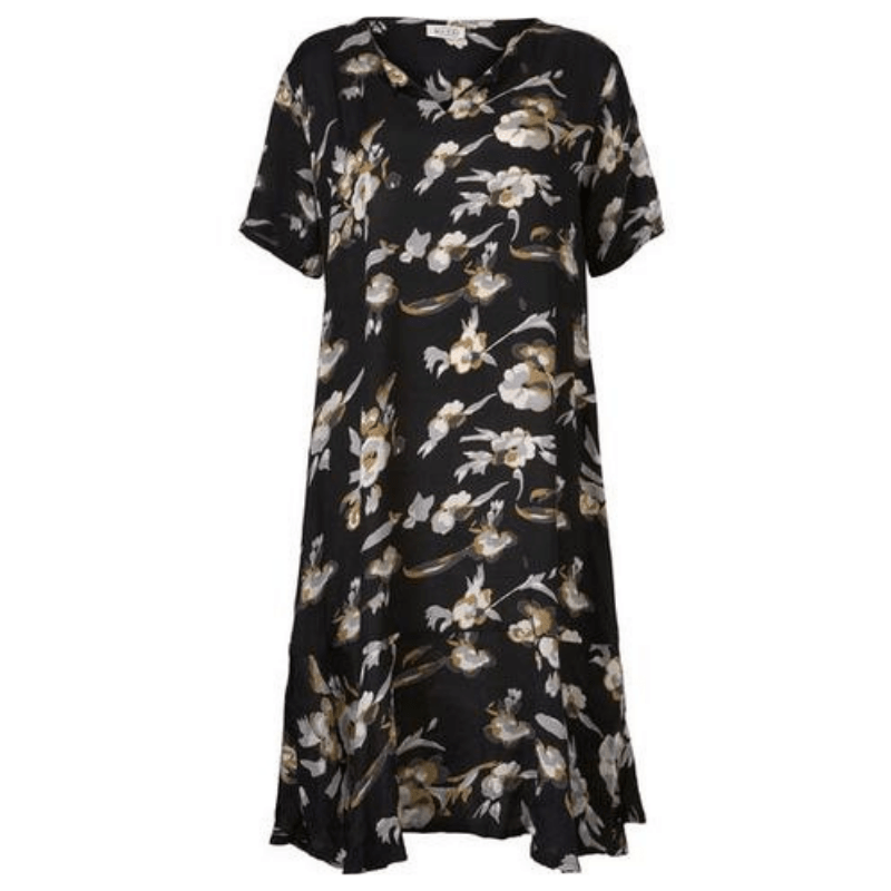Black Floral Nebit Dress
