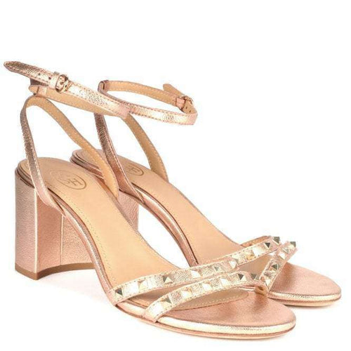 JANIS Heeled Sandals Rose Gold Leather & Studs