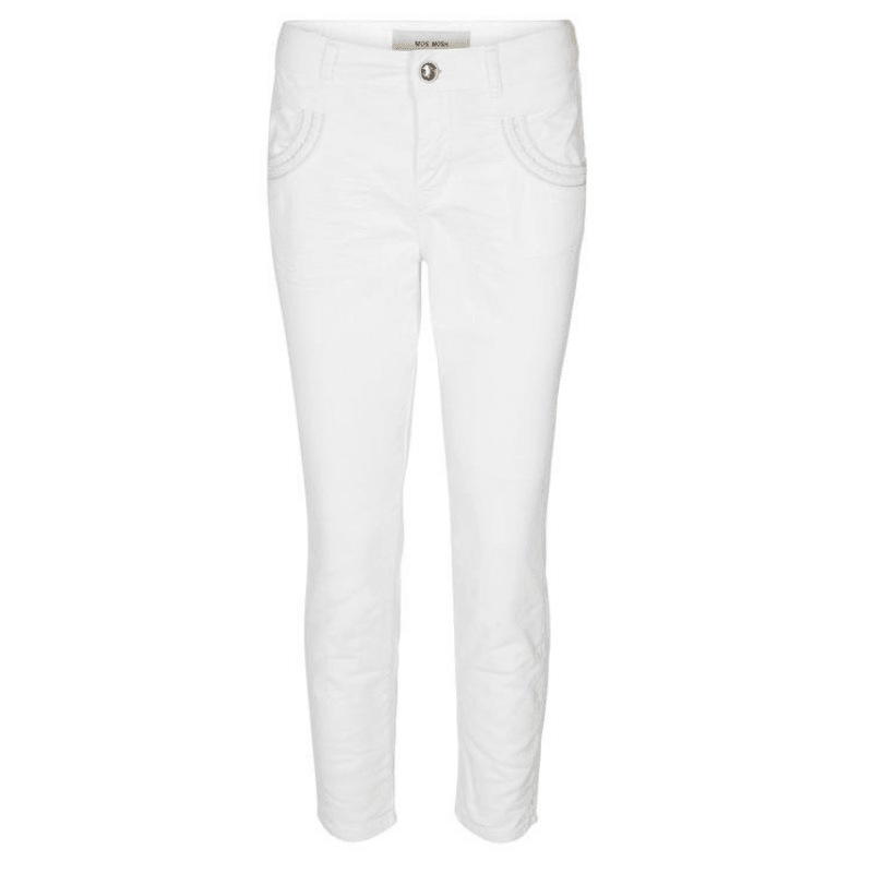 Mos Mosh Naomi Muscat 7/8 White Trousers front