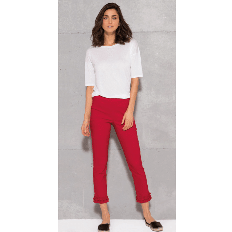 Red Waterford ruffle, cropped Trousers