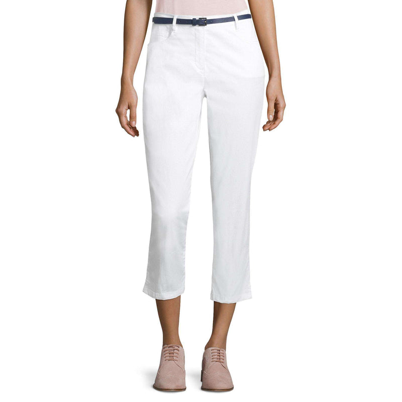 White 7/8 Mid Rise Slim Fit Cropped Trousers