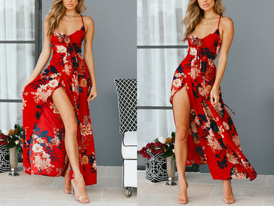 Floral Print Backless Beach Dress