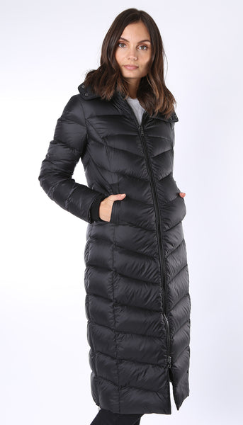 Ultra Long Down Coat with Detachable Hood - Black