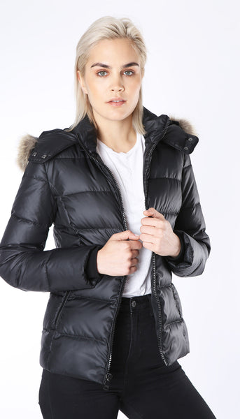Short Quilted Parka with Detachable Hood and Real Fur