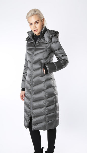 Ultra Long Down Coat with Detachable Hood - Gunmetal Grey