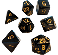 Sirius Dice RPG Set (7): Solid Black Gold Ink