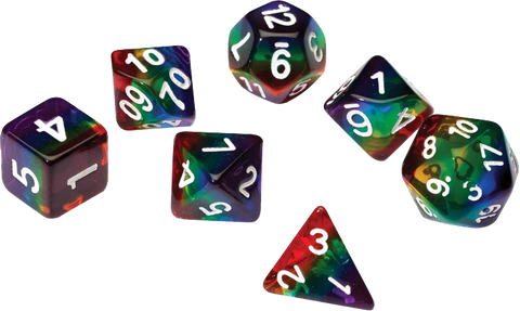 Sirius Dice RPG Set (7): Rainbow Translucent Resin