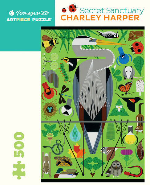 Pomegranate Artpiece Puzzle: 500 Pieces - Charley Harper - Secret Sanctuary