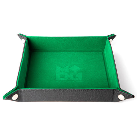 "Dice Tray: Velvet Folding Tray w/ Leather Backing 10"" x 10"" Green"