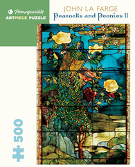 Pomegranate Artpiece Puzzle: 500 Pieces - John La Farge: Peacocks and Peonies II