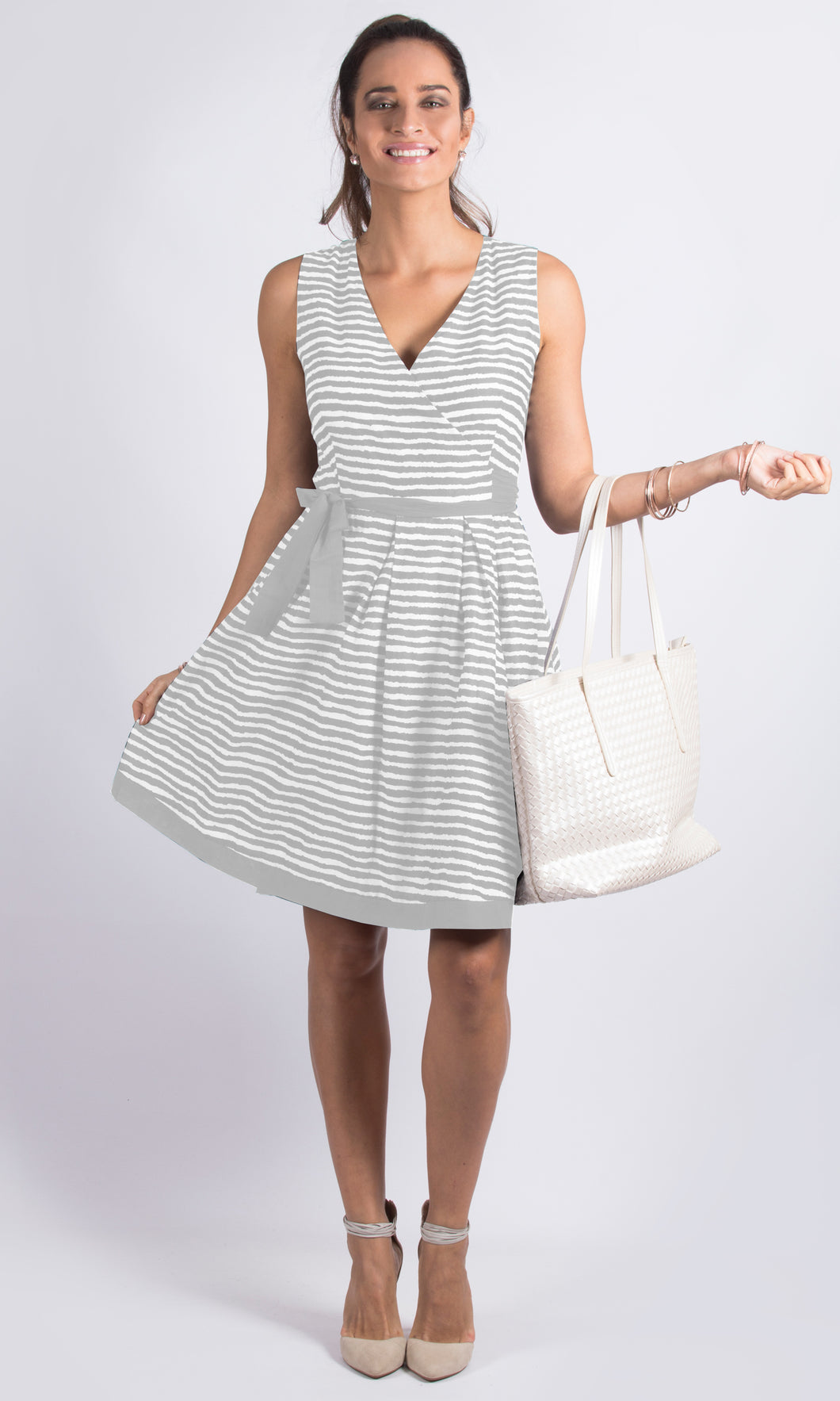 ZW16453TB Striped A Line Wrap Dress (Pack)