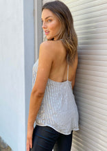 W51307SS BLACK & SILVER SEQUIN T BACK CAMI TOP (Pack)
