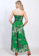 VY0436SS Green Leaf Printed Strapless Jumpsuit (Pack)