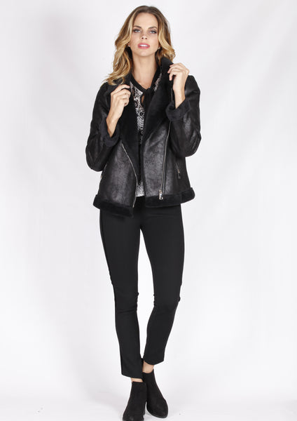 ZW16491SS Double Breasted Faux Fur Leather Jacket (Pack) New Arrivals