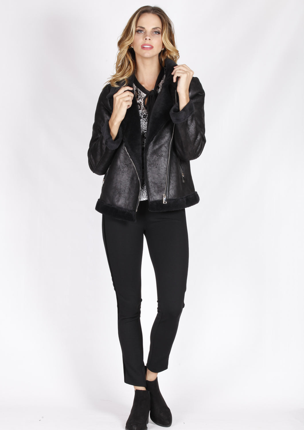ZW16491SS Double Breasted Faux Fur Leather Jacket (Pack)