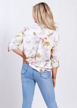 HS13021-164SS White Floral Printed Johnny Collar Blouse (Pack)