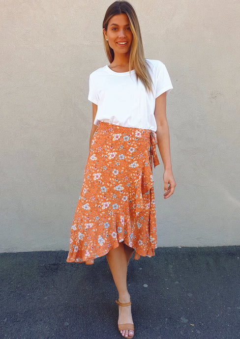 ZW16541-3SS Orange Floral Skirt (Pack) New Arrivals