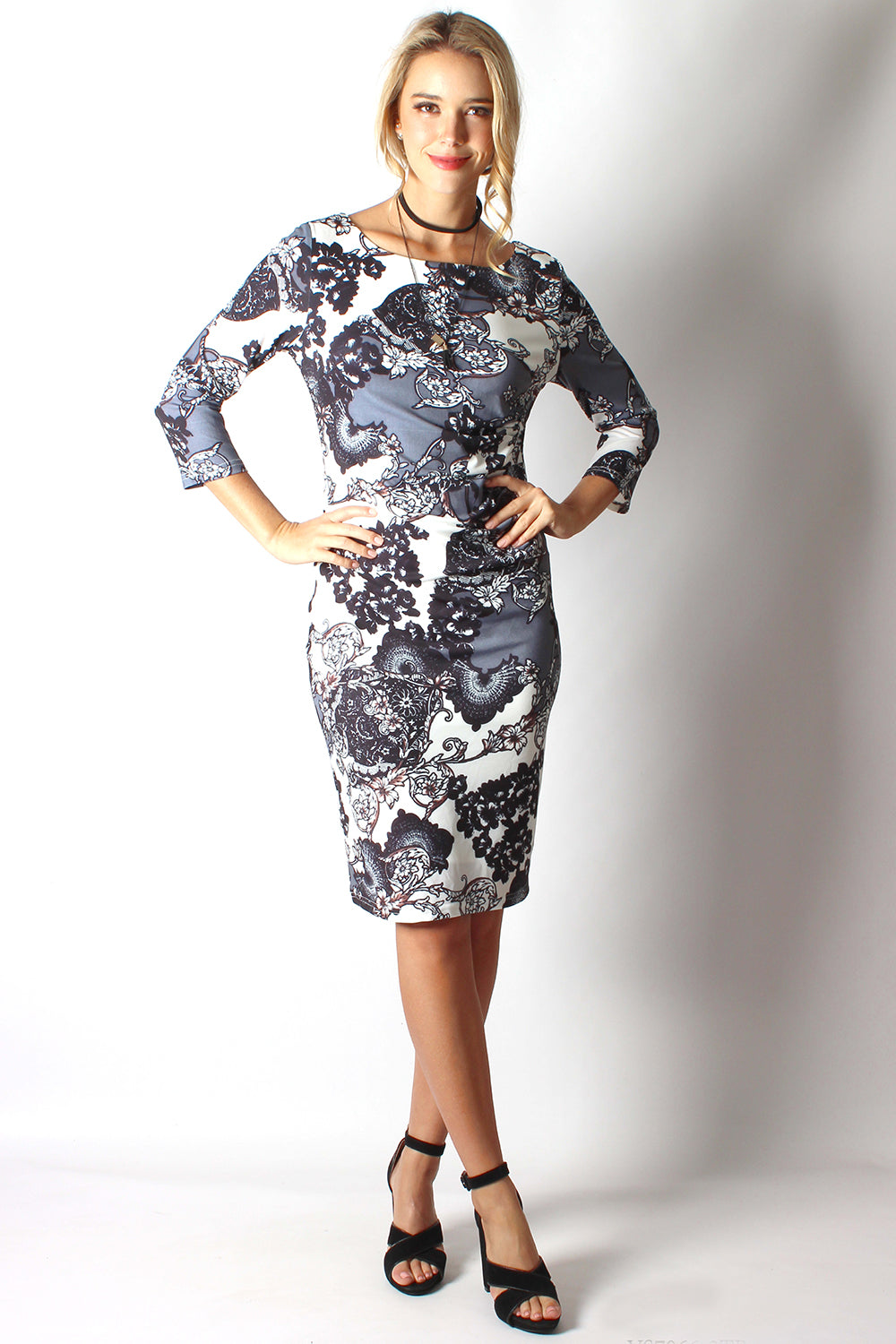BS616012-2TB Long Sleeve Floral Dress (Pack)