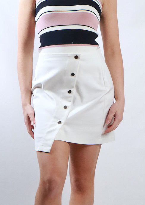 SS002SS Aysmmetric Button Detailed Skirt(Pack)
