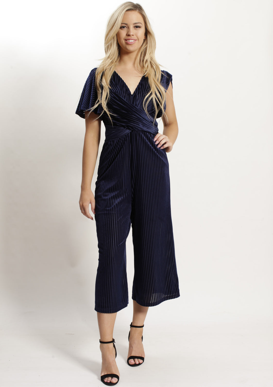 AY050SS Textured Stripe Crossed Front Jumpsuit (Pack) On Sale