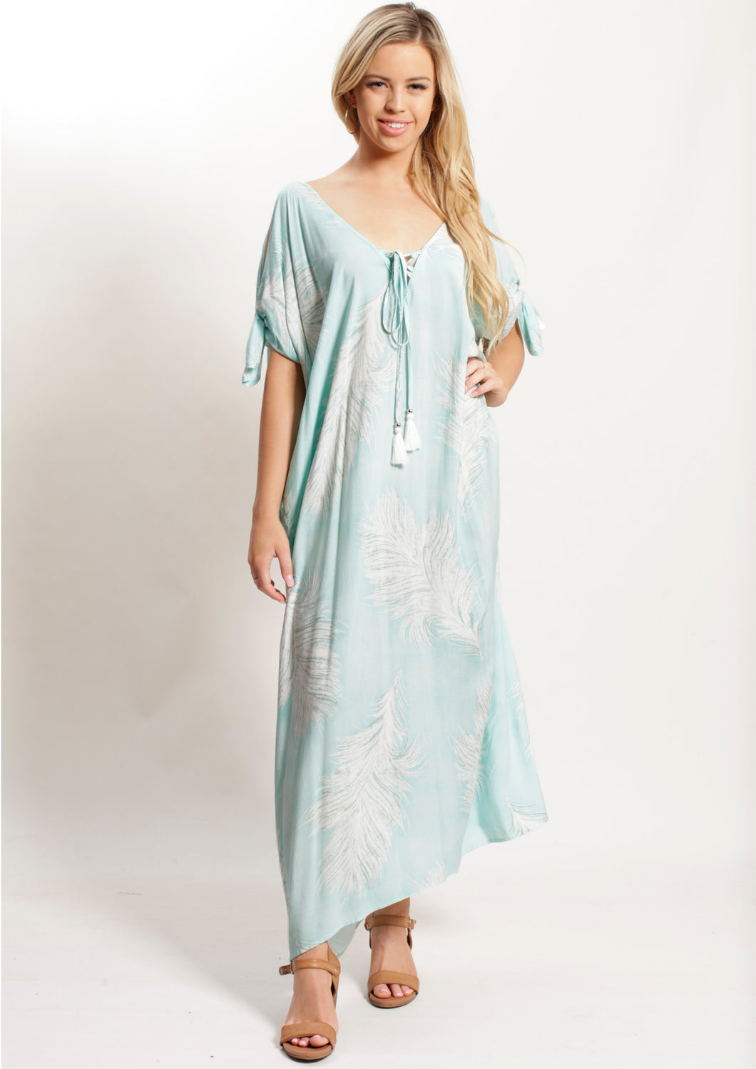 VY0354SS Feather Print Maxi Dress (Pack)