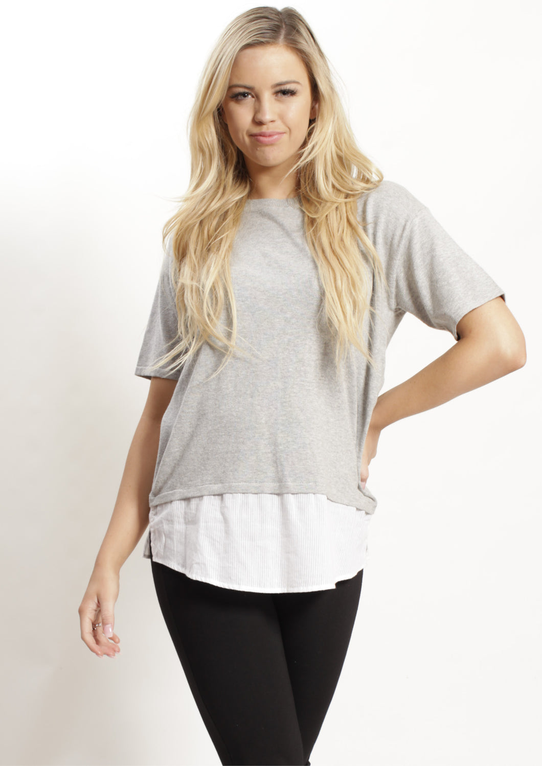 WA0244TB Knit Top With Striped Hem Insert (Pack)
