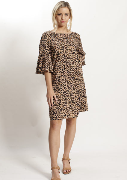 WA2112-2NC Leopard Print Ruffle Sleeve Shift Dress (Pack) New Arrival