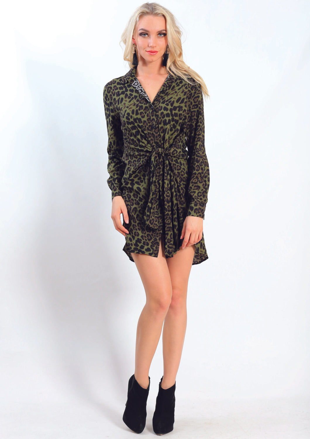 YW2092-1SS Green Leopard Print Front Knot Dress (Pack)