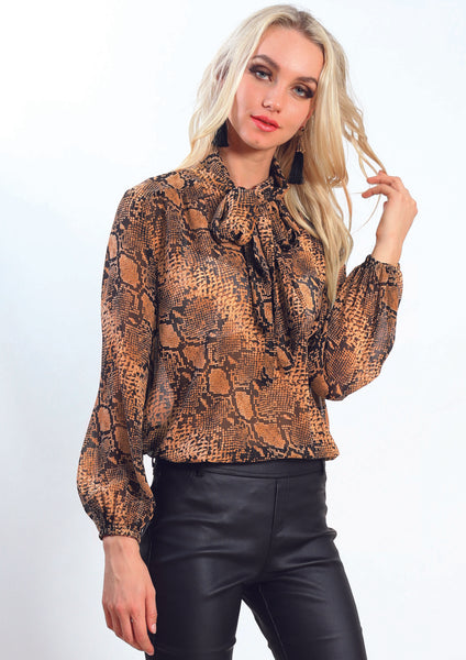 AY225SS Tie Neck Snake Print Top (Pack) New Arrivals