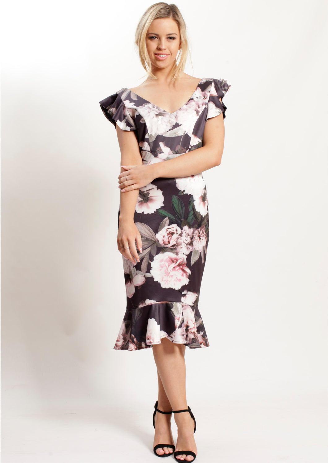 V6408-1TB Floral Dress Wtith Ruffle Shoudler (Pack)